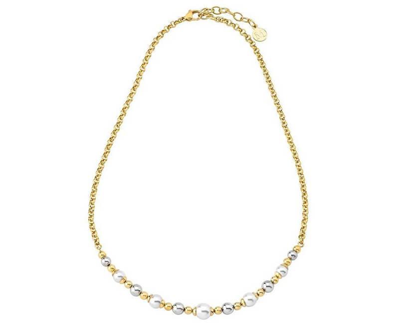 Majorica Ocelový náhrdelník s pravými perlami 15128.01.0.000.010.1