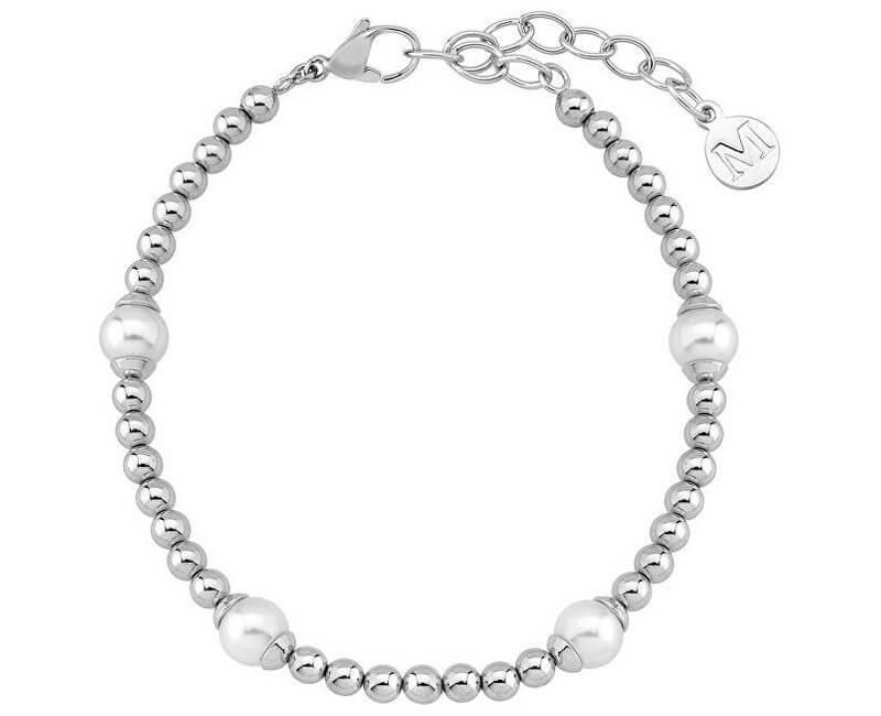 Majorica Ocelový náramek s pravými perlami 15137.01.0.000.010.1