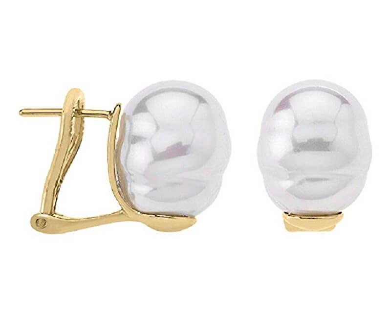 Majorica Pozlacené stříbrné náušnice s pravou barokní perlou 08617.01.1.907.701.1