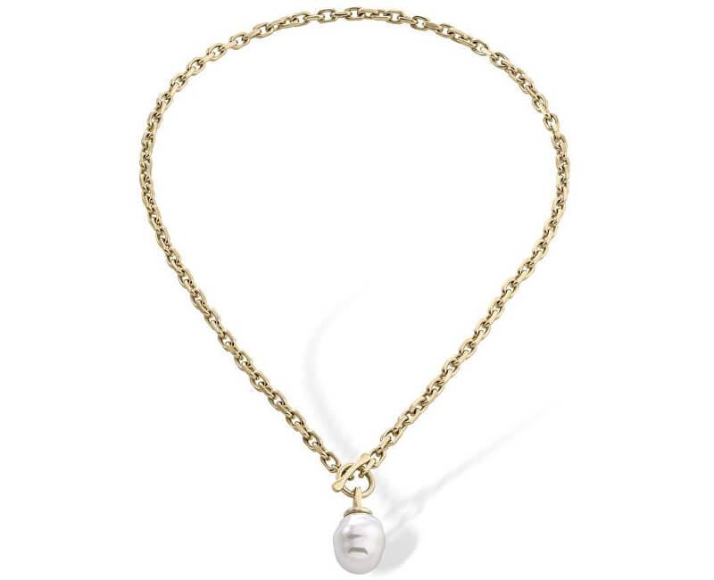 Majorica Pozlacený ocelový náhrdelník s pravou barokní perlou 15288.01.4.000.010.1
