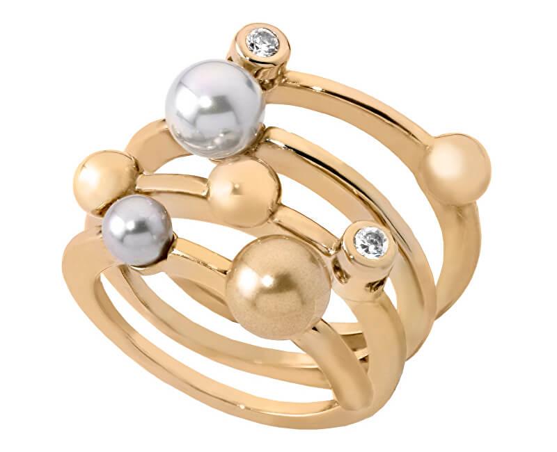 Majorica Spirálový stříbrný prsten s pravými perlami 10554.34.1.911.010.1