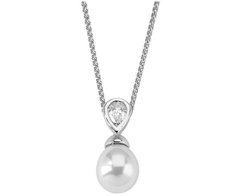 Majorica Stříbrný náhrdelník s pravou perlou a kamínkem 12268.01.2.000.010.1 (řetízek, přívěsek)