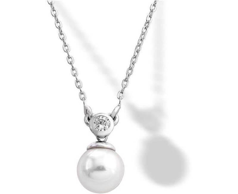Majorica Stříbrný náhrdelník s pravou perlou a kamínkem 15304.01.2.000.010.1