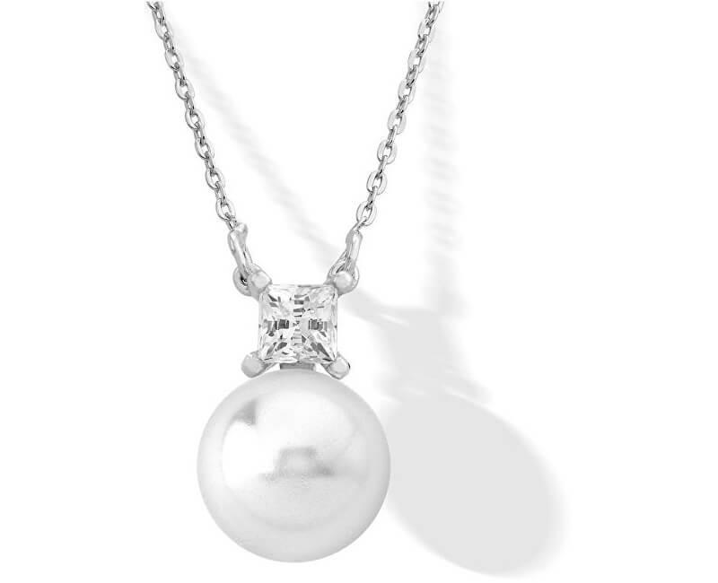 Majorica Stříbrný náhrdelník s pravou perlou a kamínkem 15308.01.2.000.010.1