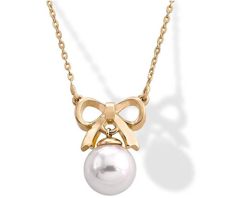 Majorica Stříbrný náhrdelník s pravou perlou a mašličkou 15300.01.1.000.010.1