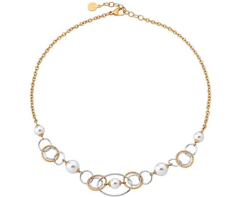 Majorica Výrazný ocelový náhrdelník s pravými perlami 14851.01.0.000.010.1