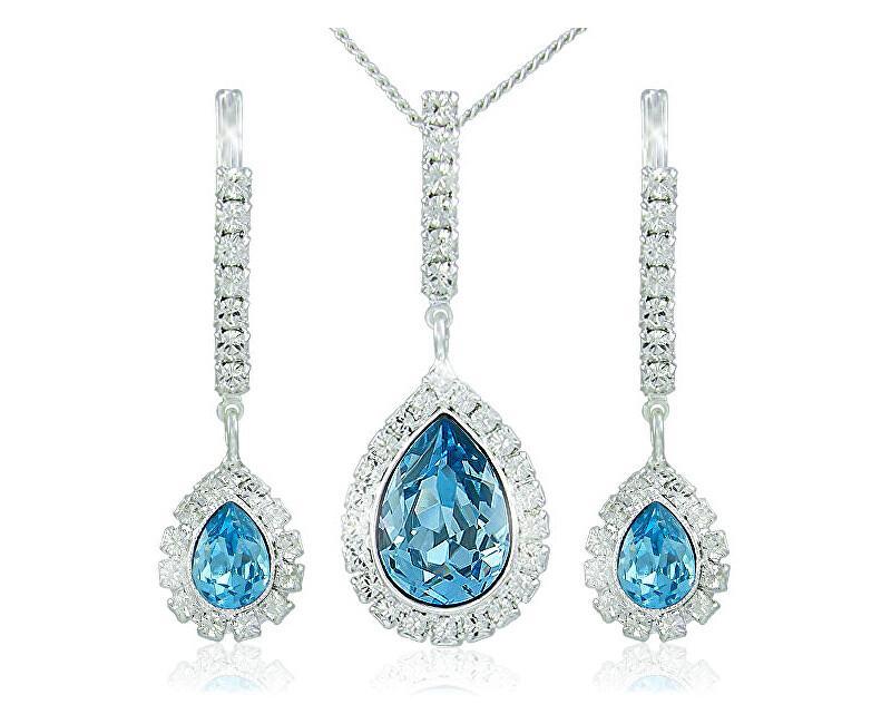 MHM Souprava šperků Avril Aquamarine 3498 (náušnice, řetízek, přívěsek)