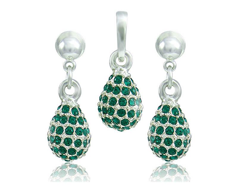 MHM Souprava šperků Kapka M4 Emerald 3485