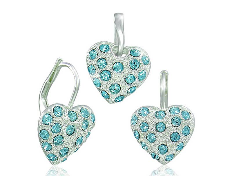 MHM Souprava šperků Srdíčko Aquamarine 34115 (náušnice, řetízek, přívěsek)