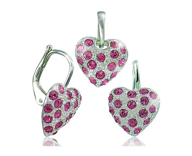 MHM Souprava šperků Srdíčko růžová 34109 (náušnice, řetízek, přívěsek)