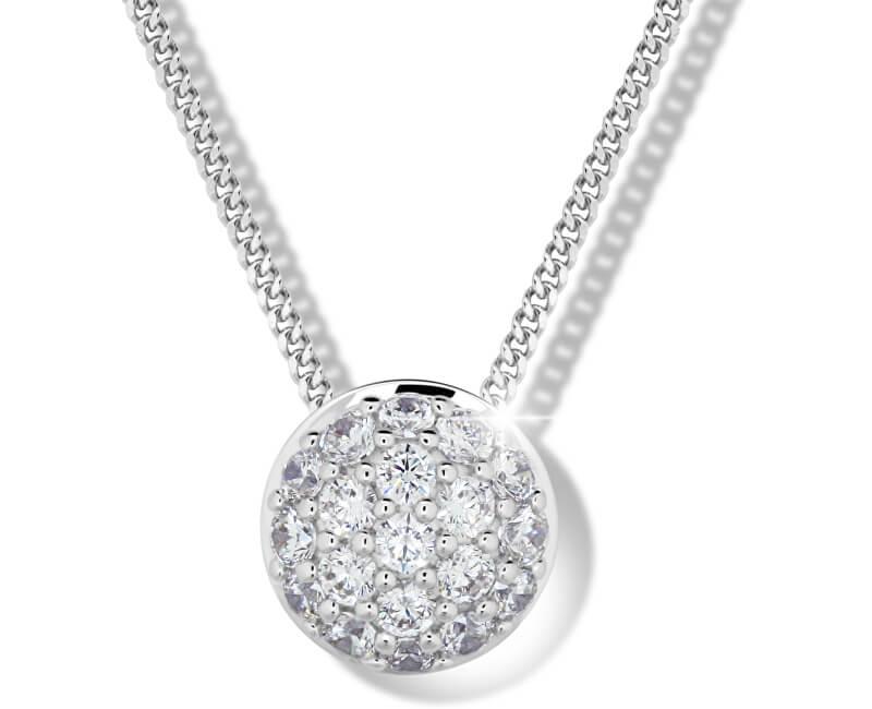 Modesi Slušivý náhrdelník ze stříbra M41091 (řetízek, přívěsek)