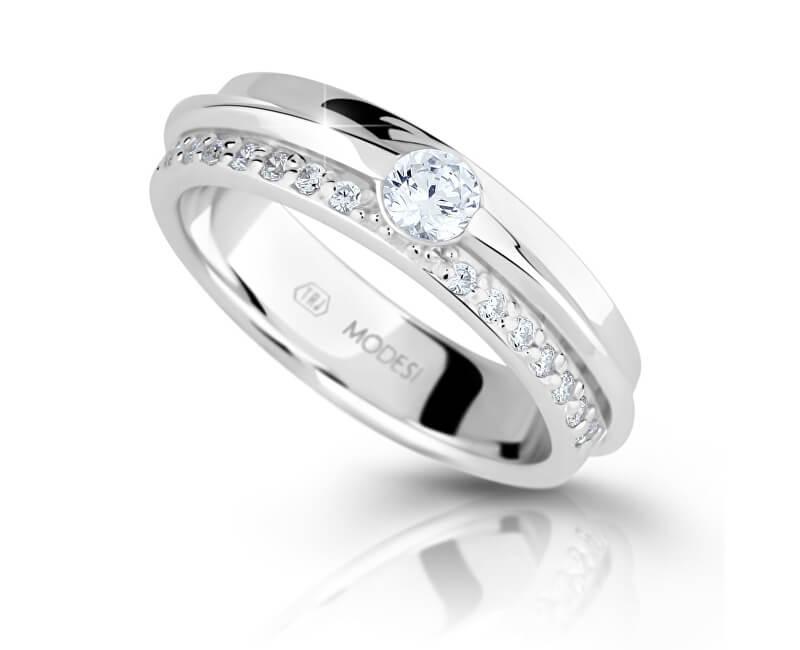 Modesi Třpytivý stříbrný prsten se zirkony M16020