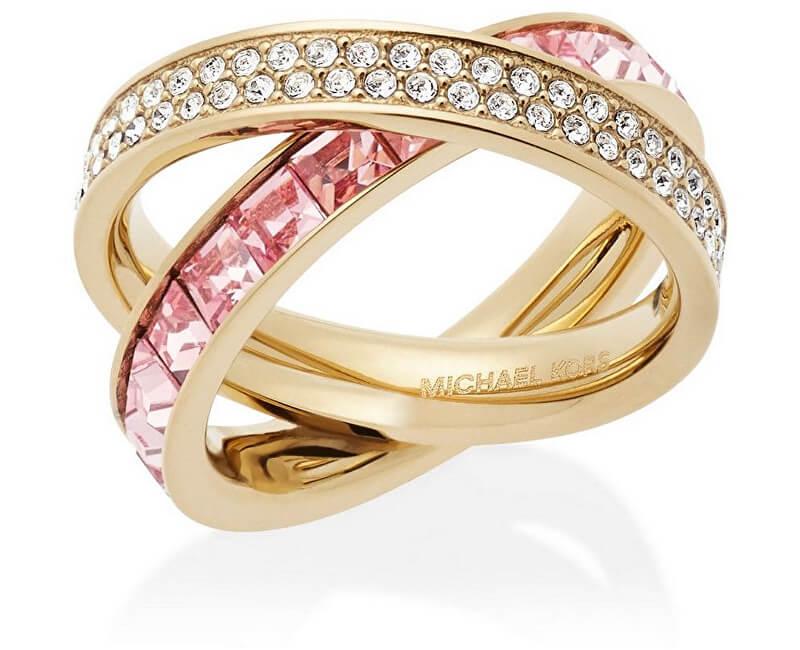 Michael Kors Dvojitý pozlacený prsten s krystaly MKJ5419710
