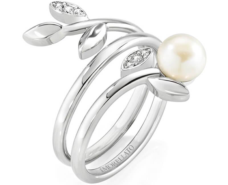 Morellato Ocelový prsten s perlou Gioia SAER26