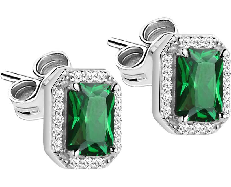 Morellato Stříbrné náušnice se zelenými krystaly Tesori SAIW57