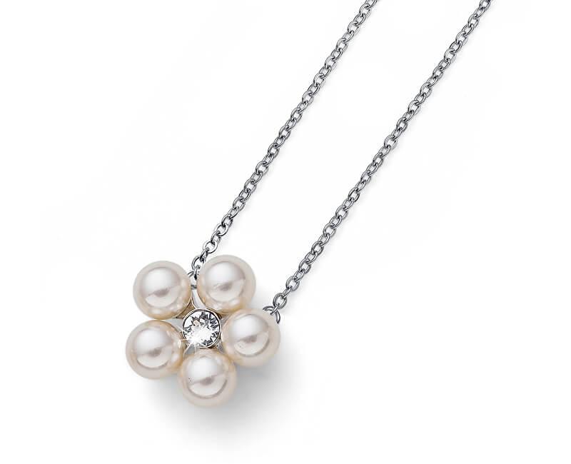 Oliver Weber Náhrdelník s perlami a krystalem Flower Pearl 11947