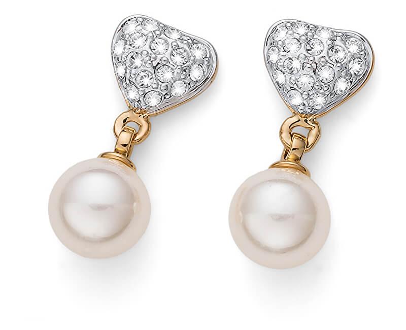 Oliver Weber Cercei placați cu aur cu cristale și perla Lovely Pearly 22780G