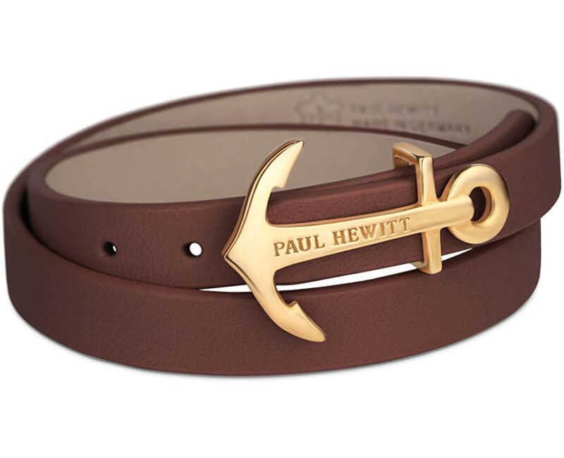 Paul Hewitt Dvojitý kožený náramek s kotvou PH-WB-G-1M