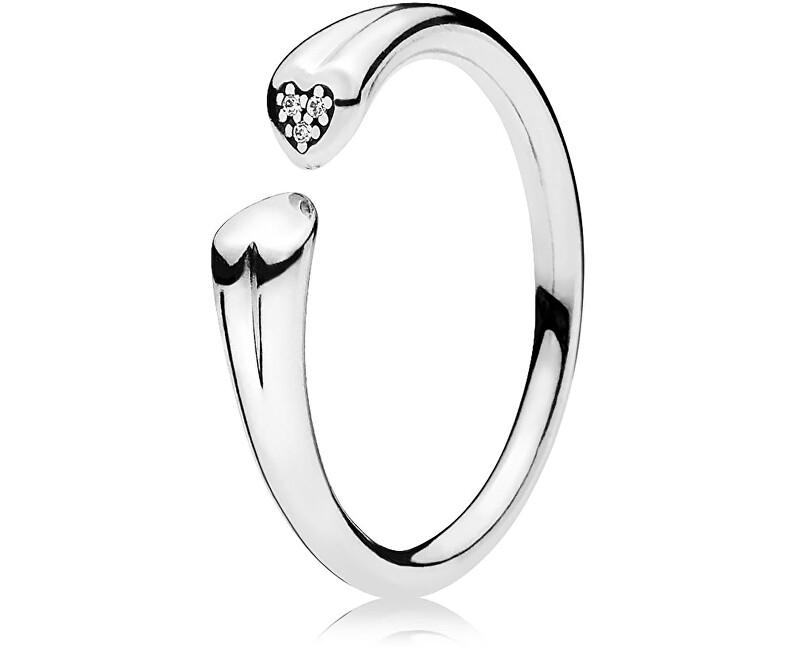 Pandora Otevřený prsten se srdíčky 196572CZ