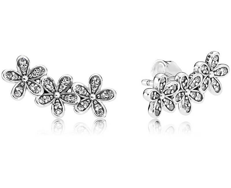 Pandora Romantické stříbrné náušnice Sedmikrásky 290744CZ Doprava ... c392c6d060d