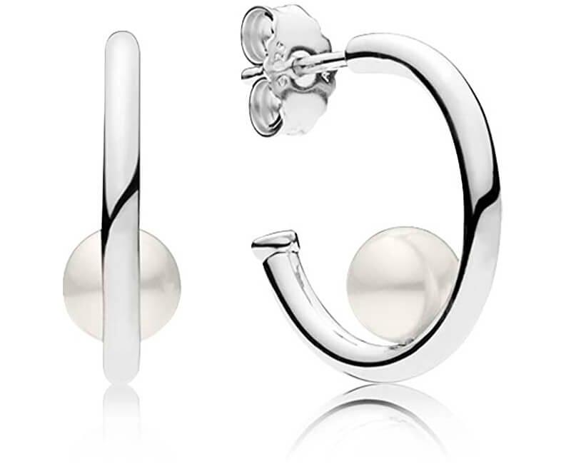Pandora Strieborné náušnice s pravou perlou 297528P Doprava ZDARMA ... bb3bf683606