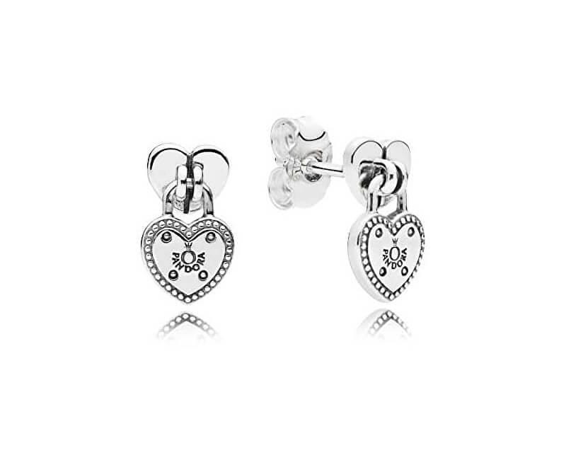 Pandora Stříbrné náušnice zámečky ve tvaru srdce 296575