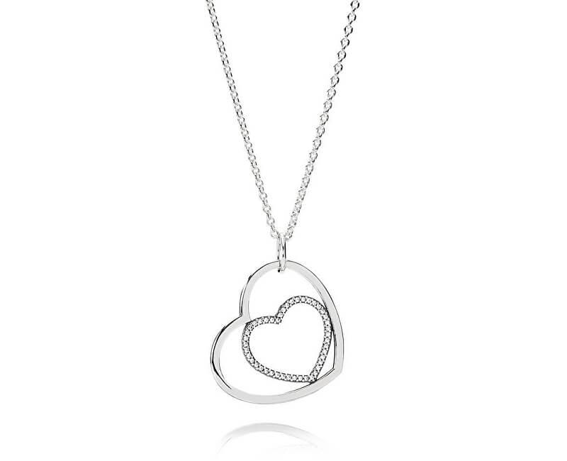 Pandora Strieborný náhrdelník Dvojité srdiečka 390364CZ-90 (retiazka ... 1c16a754a7c