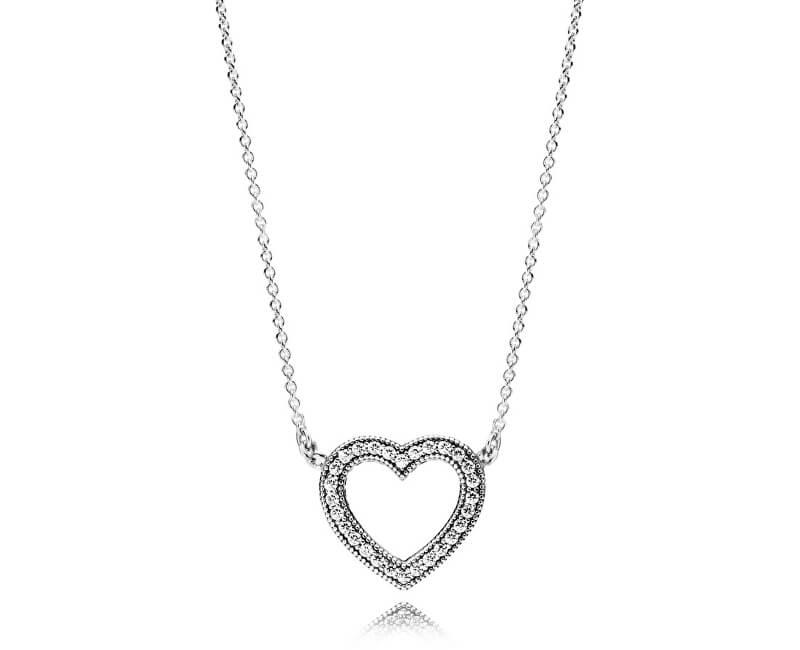 Pandora Strieborný náhrdelník Milujúci srdce 590534CZ-45 Doprava ... 2bf9ebd80d9