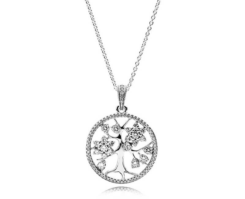 Pandora Stříbrný náhrdelník Rodokmen 390384CZ-80 (řetízek 5893970c452