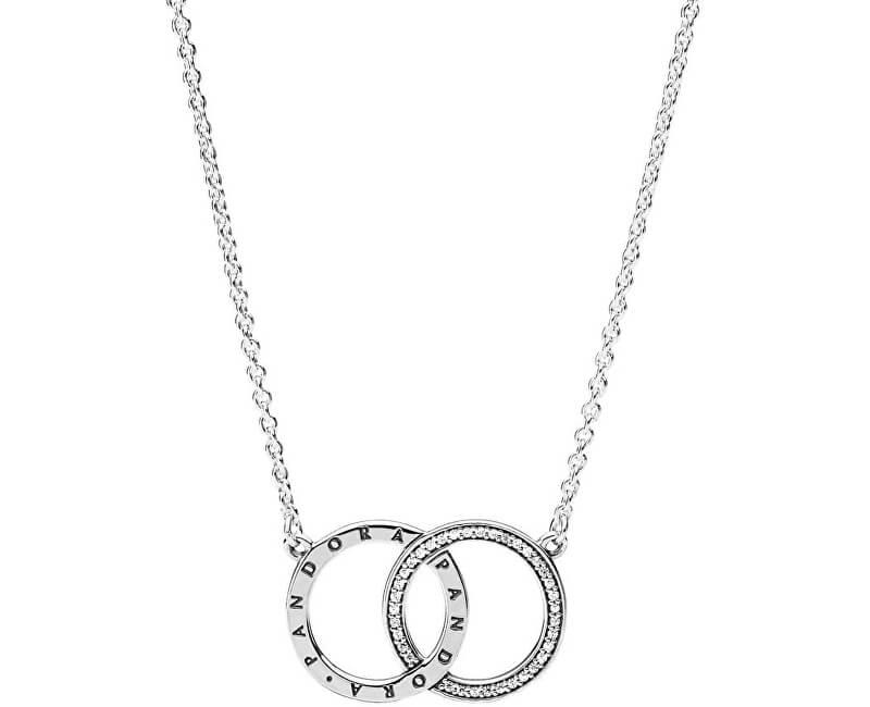 Pandora Stříbrný náhrdelník s propojenými kruhy 396235CZ-45