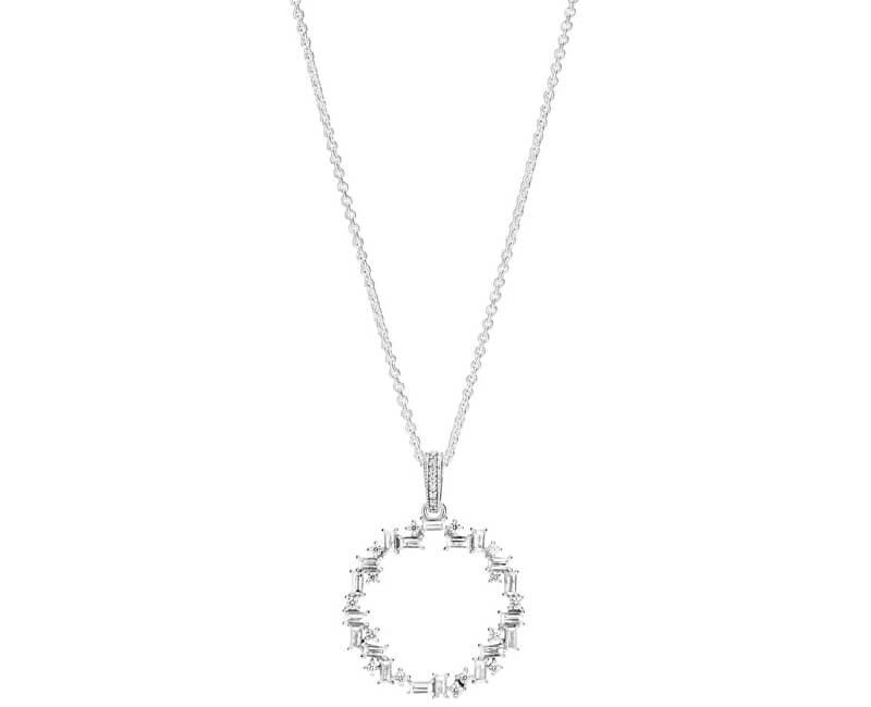 Pandora Stříbrný náhrdelník s třpytivým přívěskem 397546CZ-45 (řetízek 13e6146f2f1