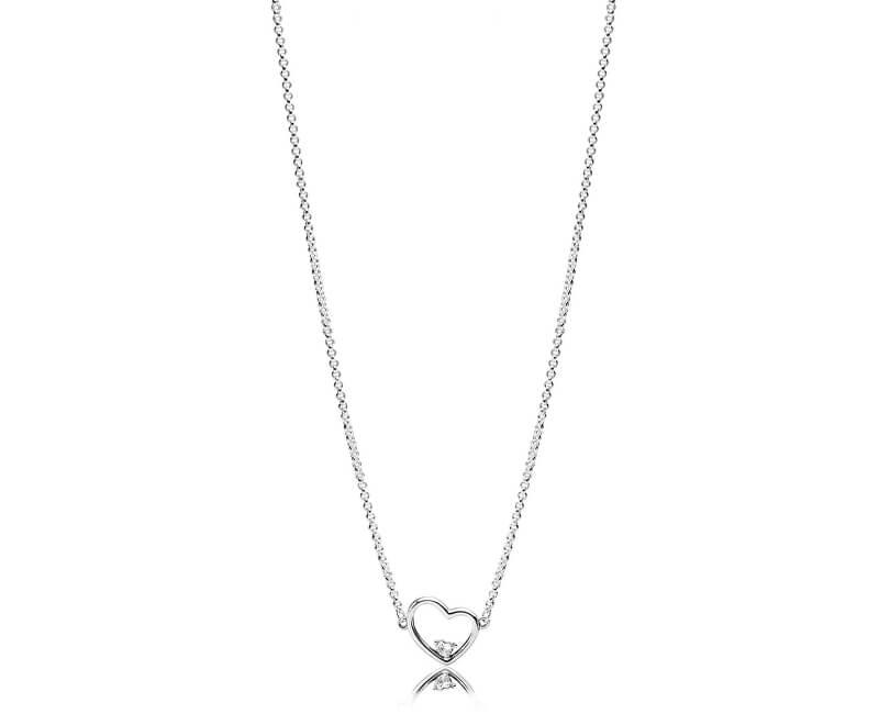 Pandora Stříbrný náhrdelník se srdíčkem 397797CZ-45