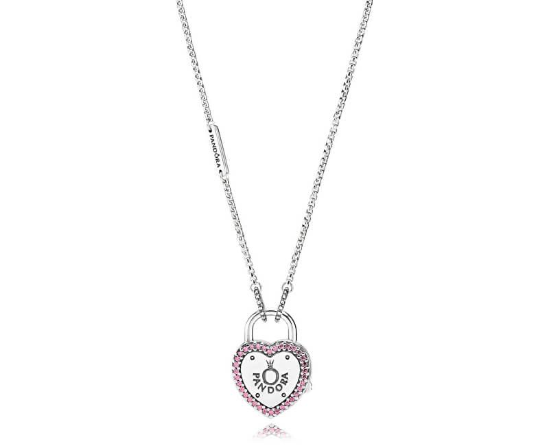 Pandora Stříbrný náhrdelník se zámečkem ve tvaru srdce 396583FPC-60