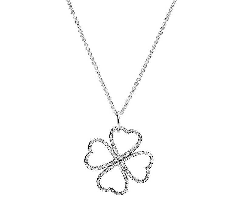Pandora Strieborný náhrdelník Zamilovaný štvorlístok 390381CZ-90 (retiazka 60390c47fcd