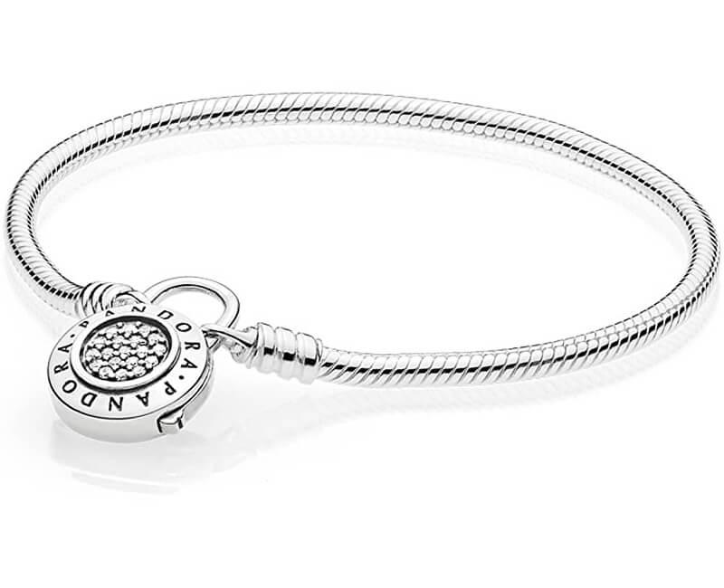 Pandora Stříbrný náramek s třpytivým zámkem 597092CZ