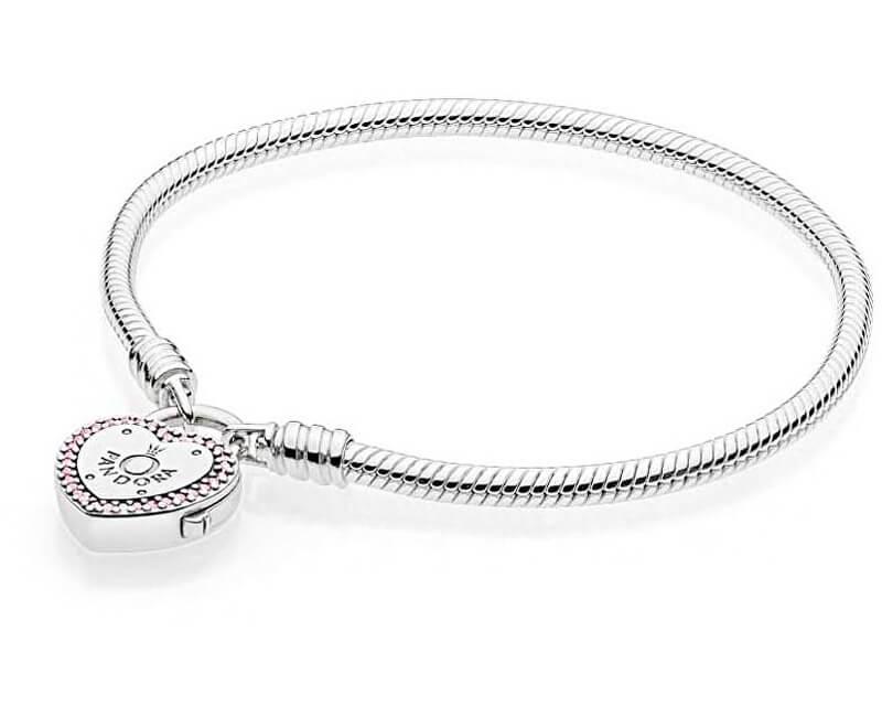 Pandora Stříbrný náramek se zámečkem ve tvaru srdce 596586fpc