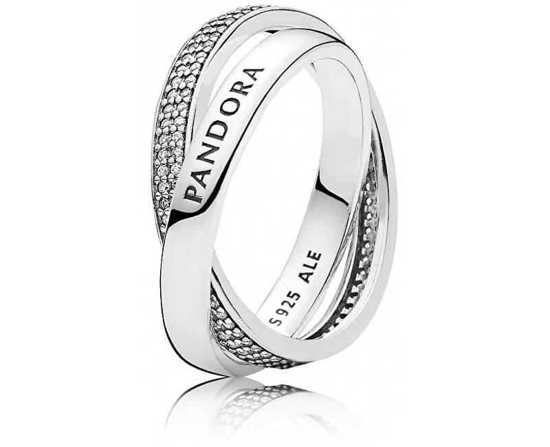 Pandora Stříbrný proplétaný prsten 196547CZ