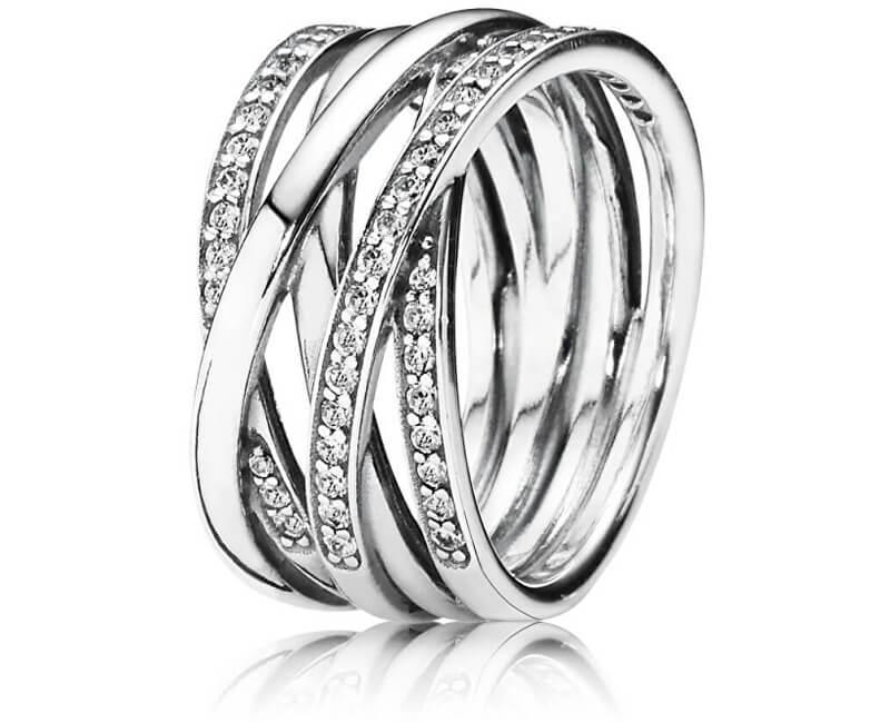Pandora Stříbrný propletený prsten 190919CZ