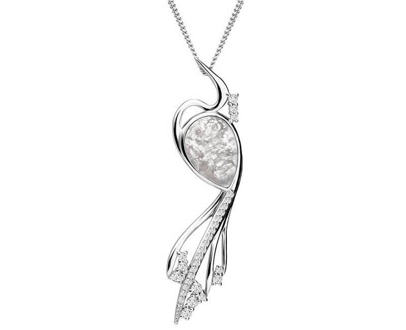 Preciosa Elegantní náhrdelník Ines Matrix bílý 6109 11 (řetízek, přívěsek)