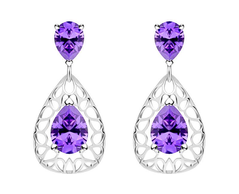 7d39b1ec6 Preciosa Elegantné strieborné náušnice Lyra Violet 5261 56 ...