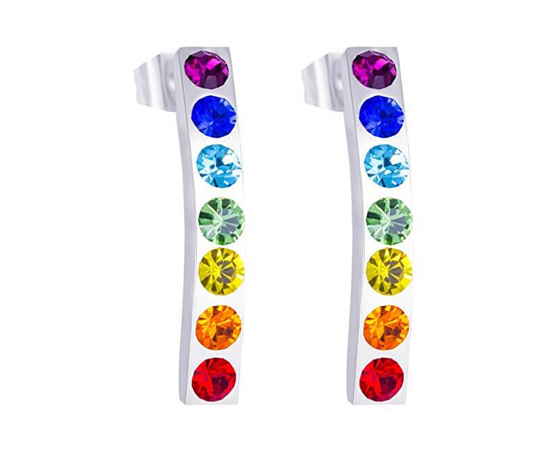 Preciosa Oceľové náušnice s farebnými kryštálmi Keren 7297 70