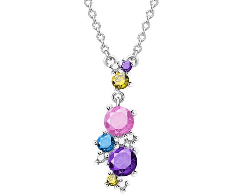 Preciosa Pestrobarevný náhrdelník Flower 5238 70 (řetízek, přívěsek)