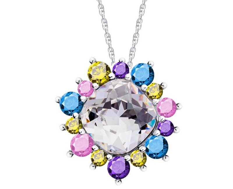 Preciosa Pestrobarevný náhrdelník Flower 5240 70 (řetízek, přívěsek)