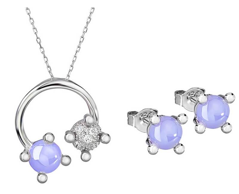 Preciosa Souprava šperků Blossoms-set Violet 5231 56 (náušnice, řetízek, přívěsek)