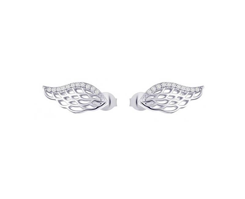 Preciosa Strieborné náušnice so zirkónmi Angel Wings 5218 00