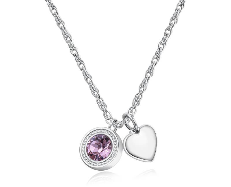 S`Agapõ Ocelový náhrdelník s krystalem a srdíčkem Light SKT01