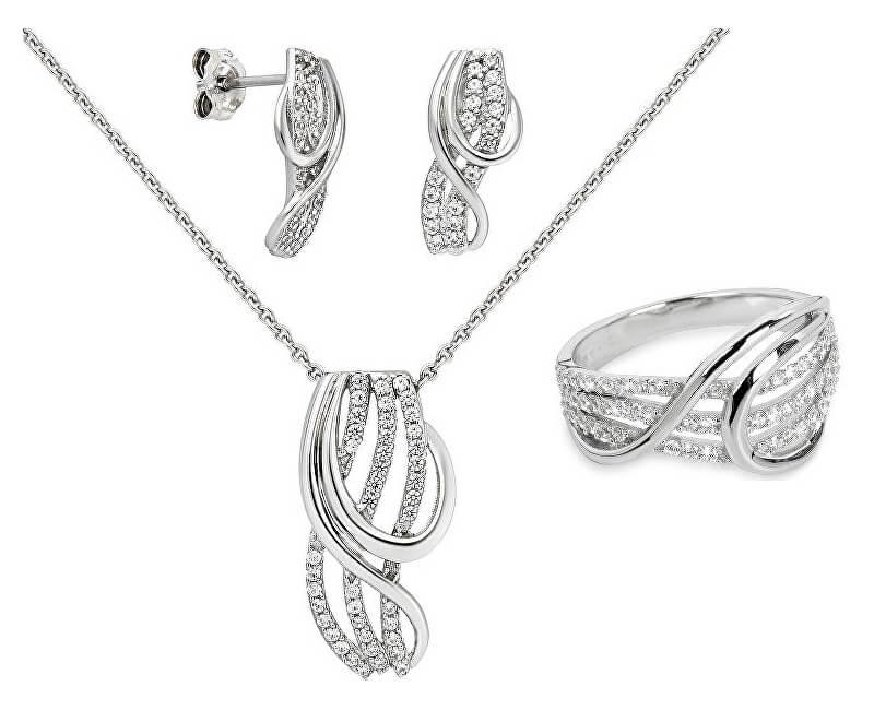 Silver Cat Souprava šperků s třpytivými zirkony + řetízek zdarma (náušnice, řetízek, přívěsek, prsten)