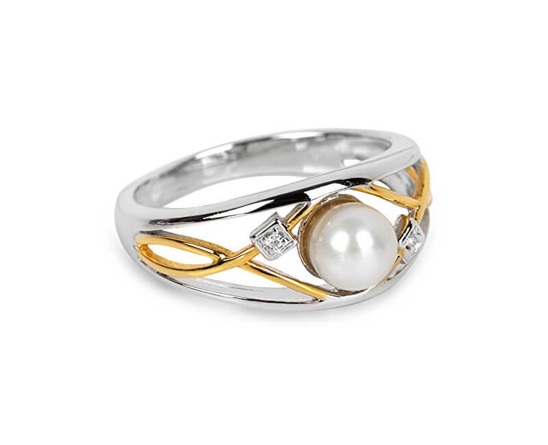 0bfc10454 Silver Cat Stříbrný prsten s perlou a krystaly SC151 Doprava ZDARMA ...