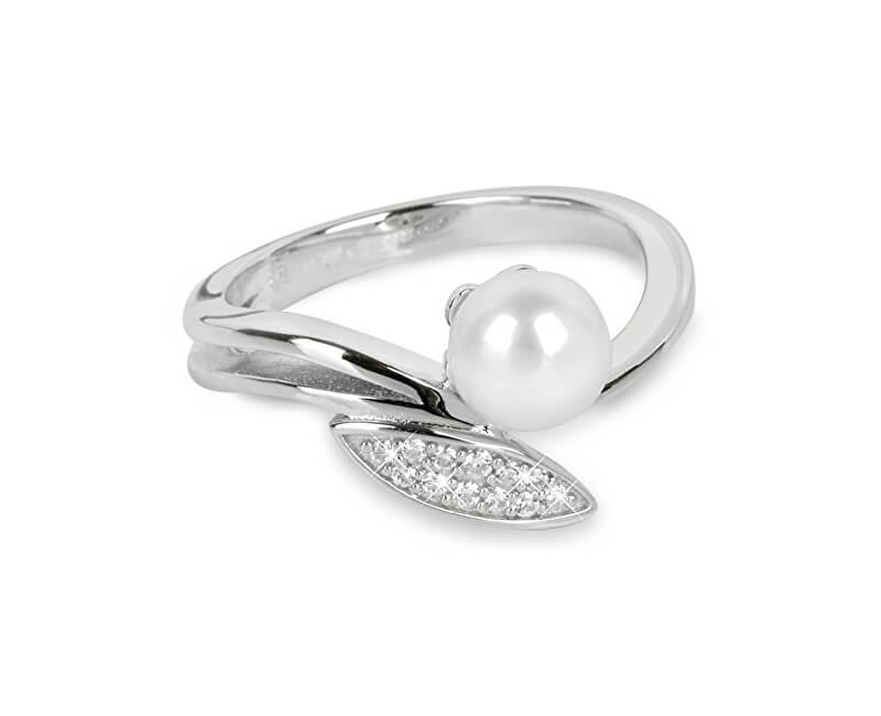Silver Cat Stříbrný prsten se zirkony a perličkou SC215