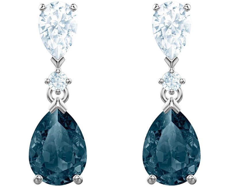 Swarovski Luxusní náušnice s modrými krystaly VINTAGE 5452579